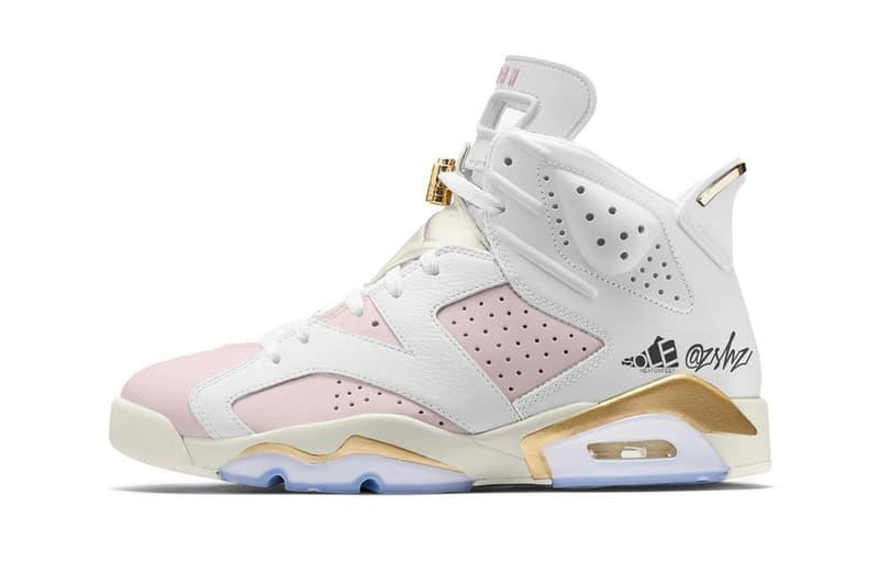 air jordan 6 aj6 retro womens gold hoops pink barely rose metallic white sail release date rumors