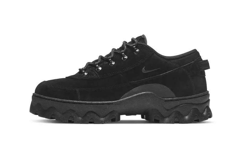 nike womens lahar low boots hiking shoes suede black side view