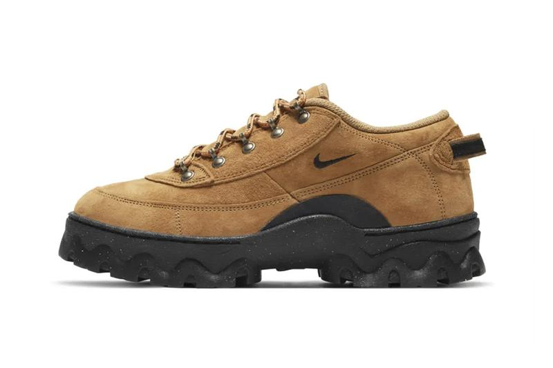 nike womens lahar low boots hiking shoes suede wheat brown side view upper