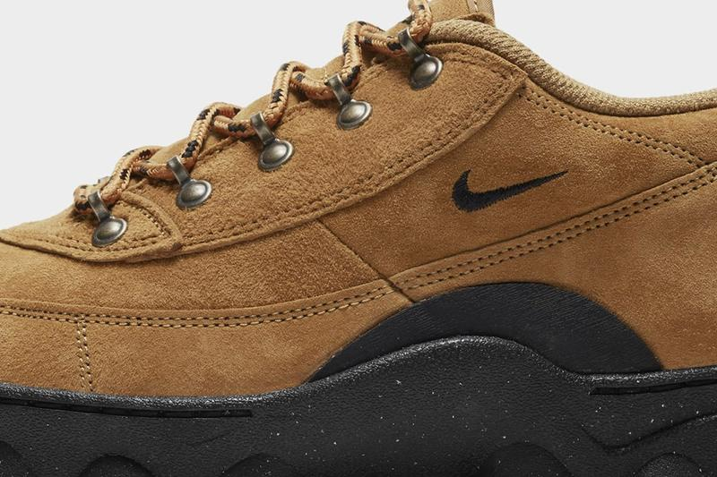 nike womens lahar low boots hiking shoes suede tan wheat brown side close up details