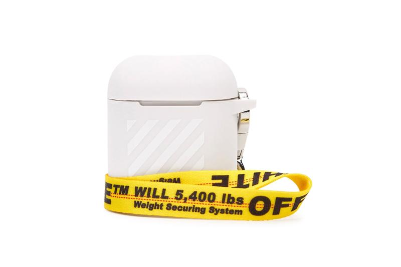 off white airpods pro cases covers gray logo yellow strap