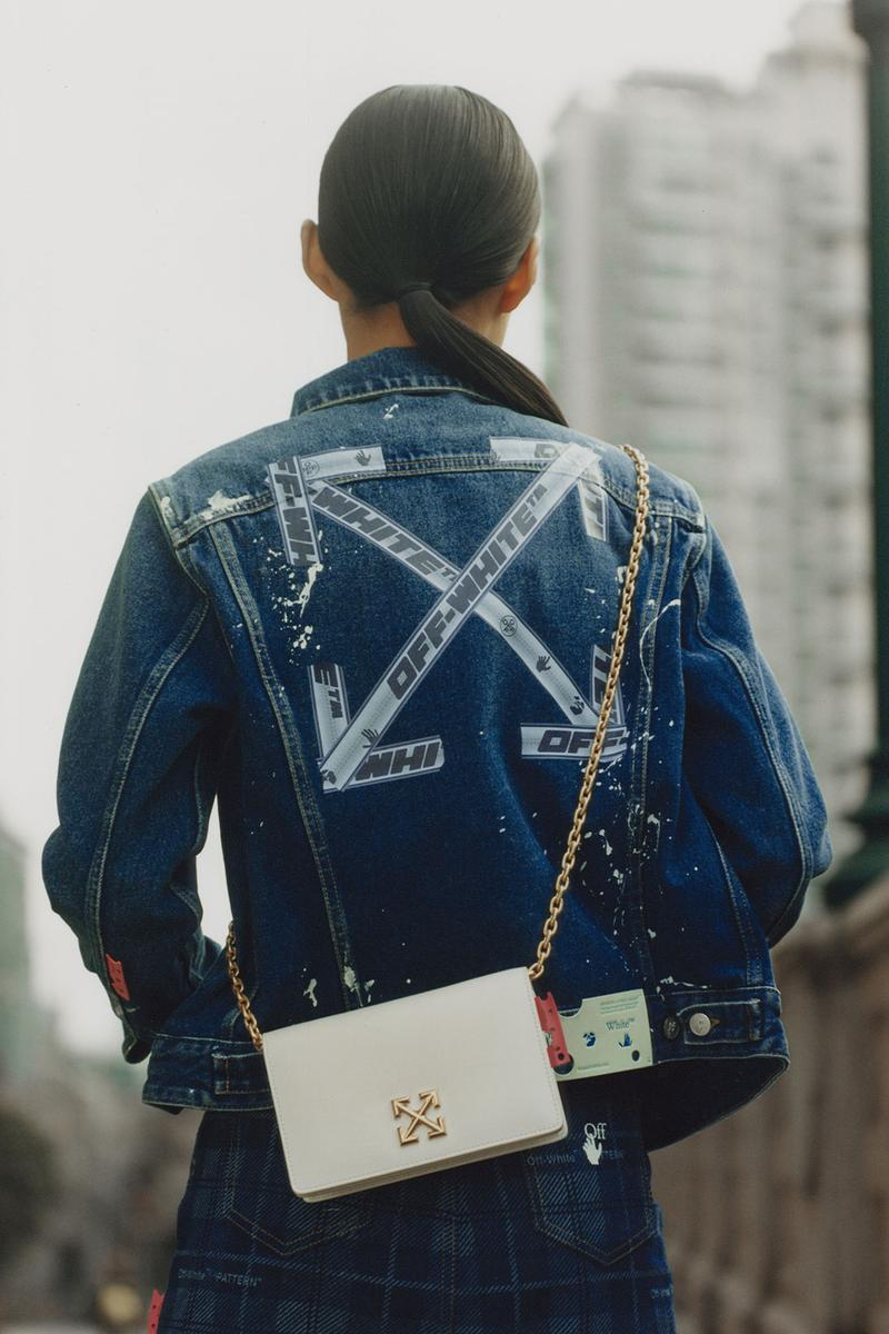 off-white wechat weixin mini program capsule collaboration china denim jacket cross arrow logo white bag