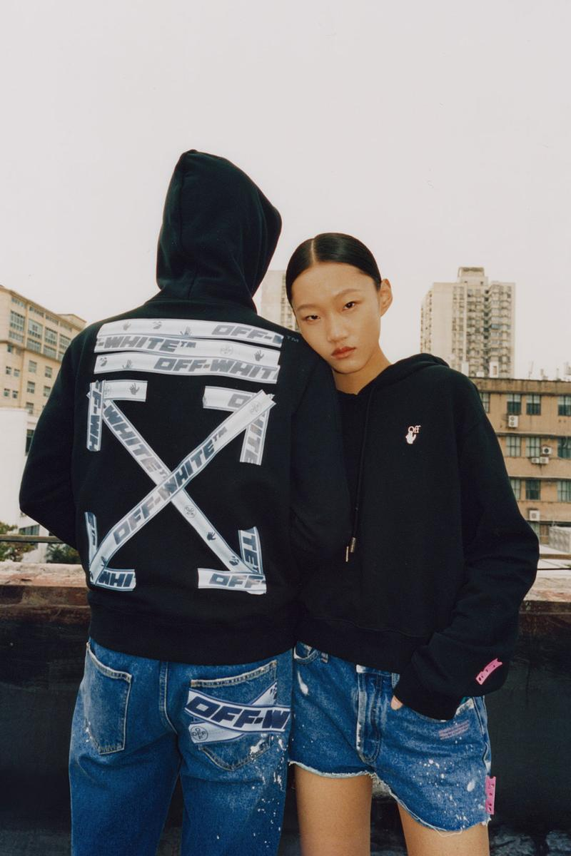 off-white wechat weixin mini program capsule collaboration china jeans black hoodies logo