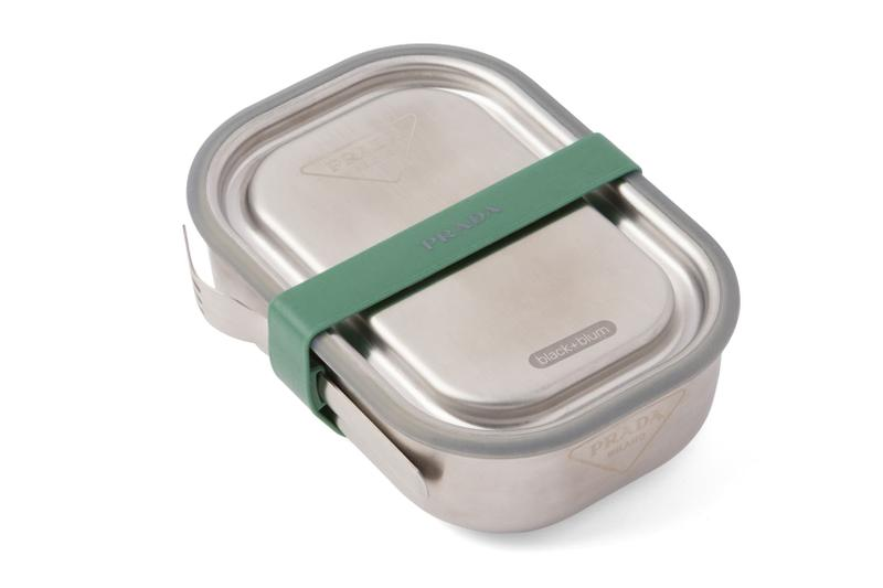 prada black and blum lunch boxes logo stainless steel sustainable