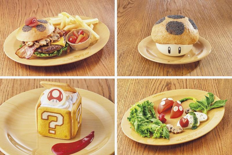 super nintendo world osaka japan theme park opening toad's cafe food menus pizza tiramisu salad mario
