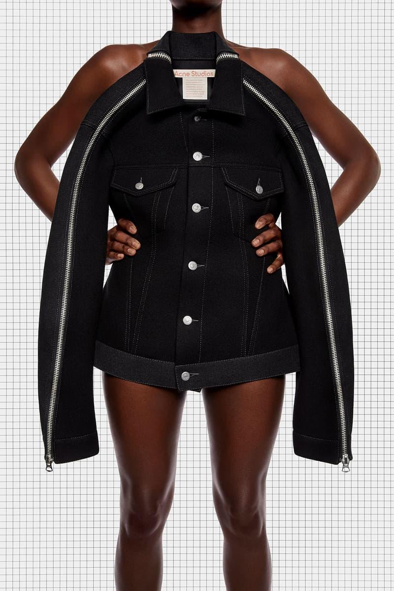 acne studios repurposed collection season 2 drop oversized denim panel jacket black zipper details