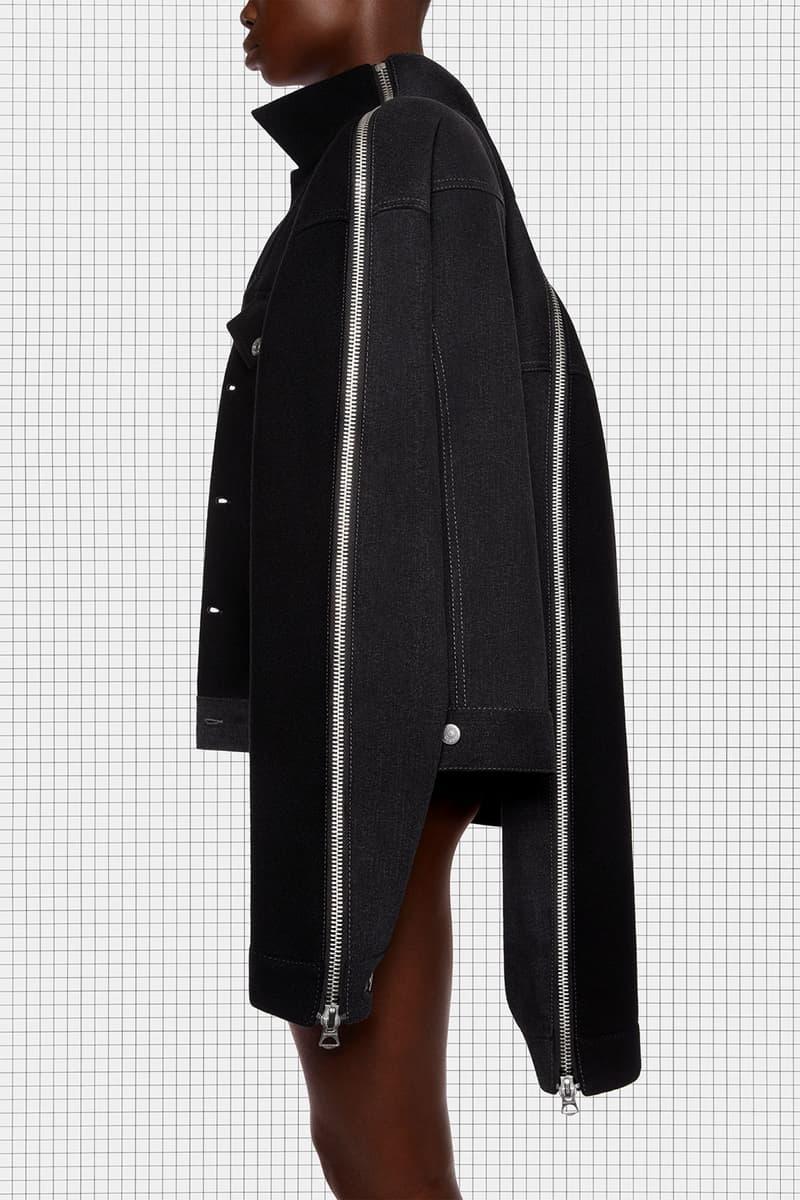 acne studios repurposed collection season 2 drop oversized black denim panel jacket details zippers sleeves side