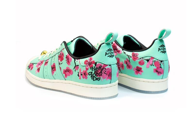 adidas originals arizona iced tea superstar collaboration sneakers big cans teal blue white pink flowers heel black