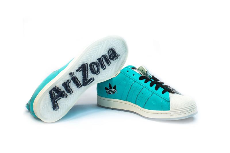 adidas originals arizona iced tea superstar collaboration sneakers big cans sole laces blue white black