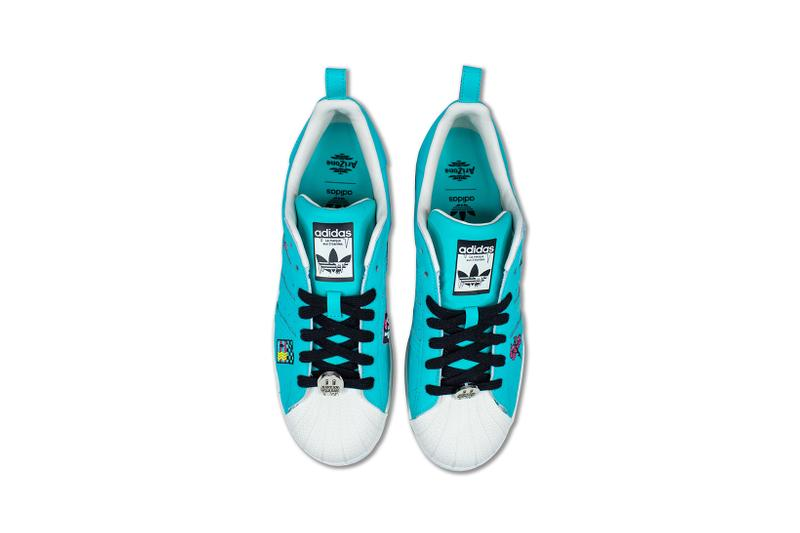 adidas originals arizona iced tea superstar collaboration sneakers big cans aerial birds eye view laces insole black blue white