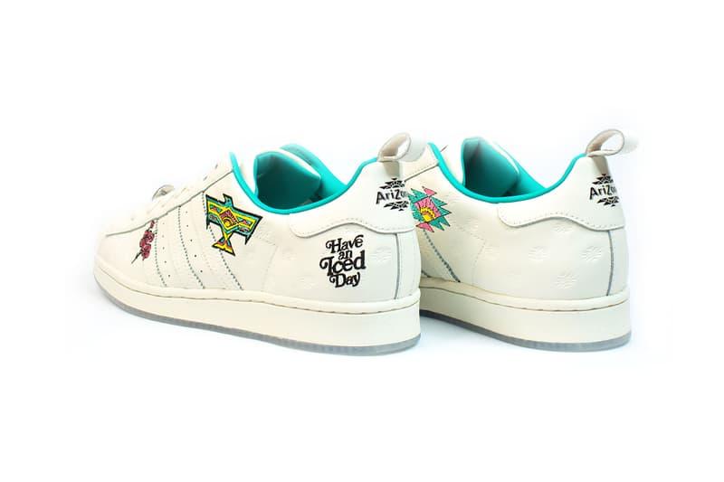 adidas originals arizona iced tea superstar collaboration sneakers big cans white teal blue heel black