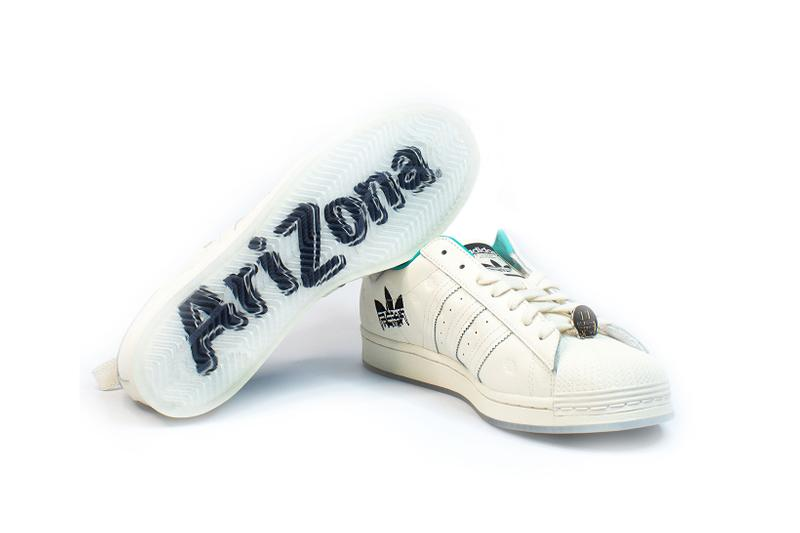 adidas originals arizona iced tea superstar collaboration sneakers big cans sole black white laces gold teal blue