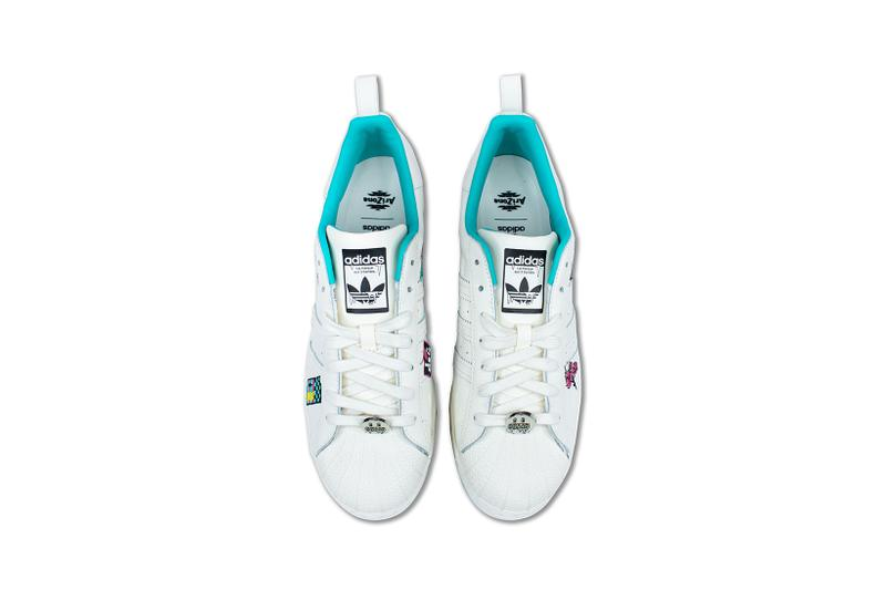 adidas originals arizona iced tea superstar collaboration sneakers big cans aerial birds eye view white laces teal blue insole black
