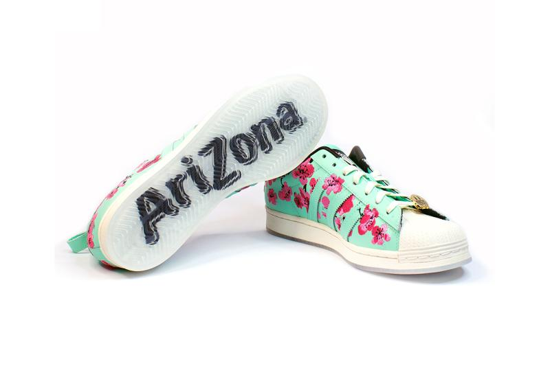 adidas originals arizona iced tea superstar collaboration sneakers big cans sole teal blue pink flowers white laces gold