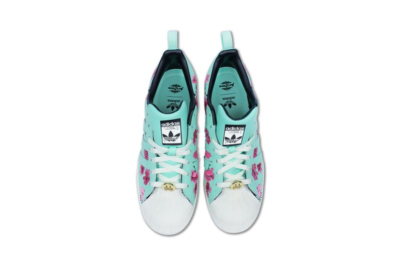 adidas originals arizona iced tea superstar collaboration sneakers big cans aerial birds eye view teal blue laces white gold pink flowers insole black