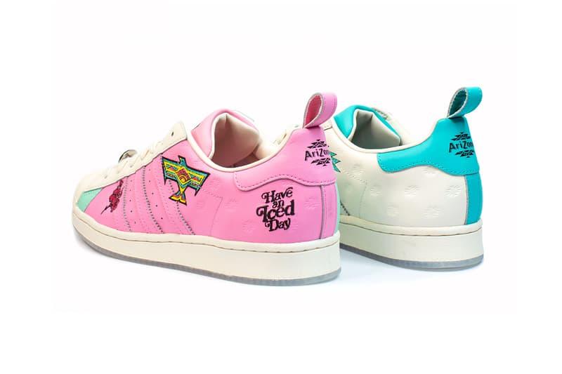 adidas originals arizona iced tea superstar collaboration sneakers big cans pink white blue heel