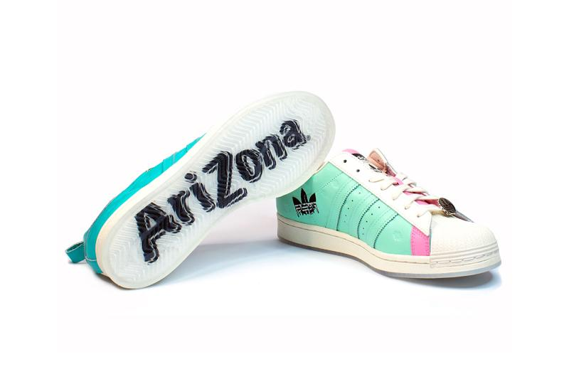 adidas originals arizona iced tea superstar collaboration sneakers big cans sole laces white blue teal pink gold