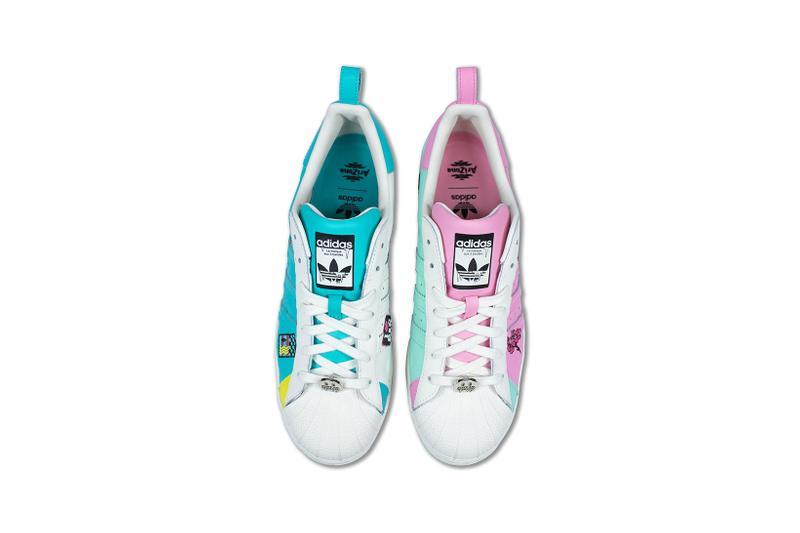 adidas originals arizona iced tea superstar collaboration sneakers big cans aerial birds eye view insole laces white blue teal pink insole