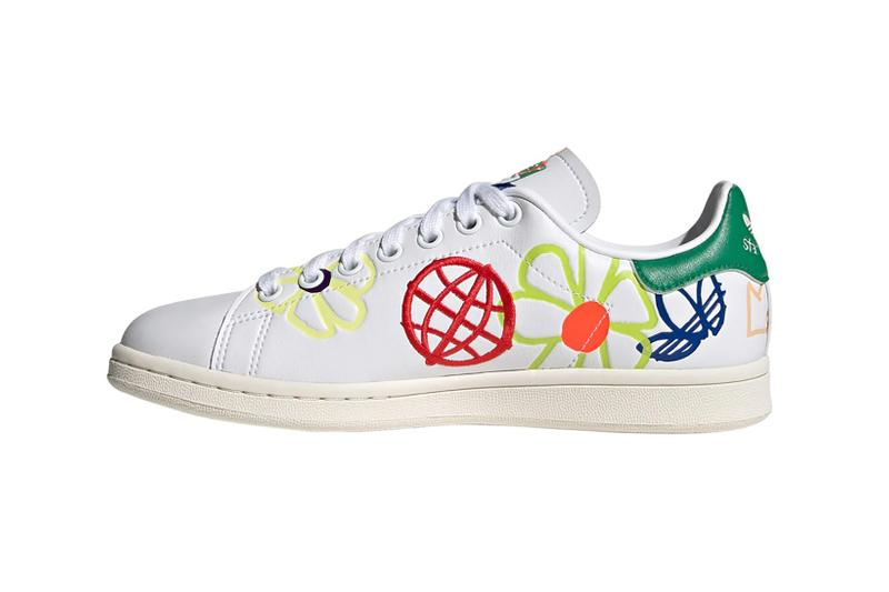 adidas originals stan smith primegreen sustainable sneakers white colorway footwear shoes sneakerhead pink yellow flower lateral
