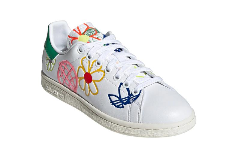 adidas originals stan smith primegreen sustainable sneakers white colorway footwear shoes sneakerhead pink yellow flower front laces