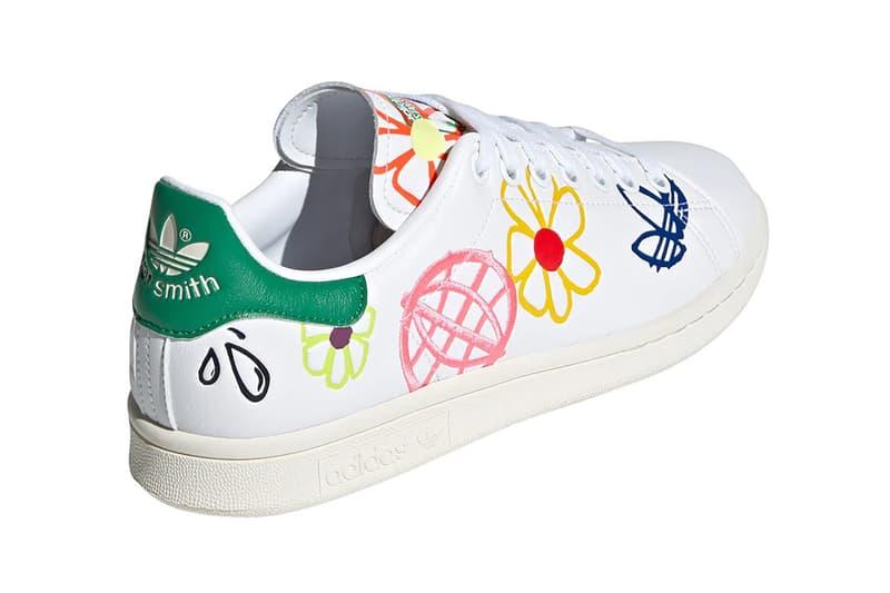 adidas originals stan smith primegreen sustainable sneakers white colorway footwear shoes sneakerhead pink yellow flower back heel