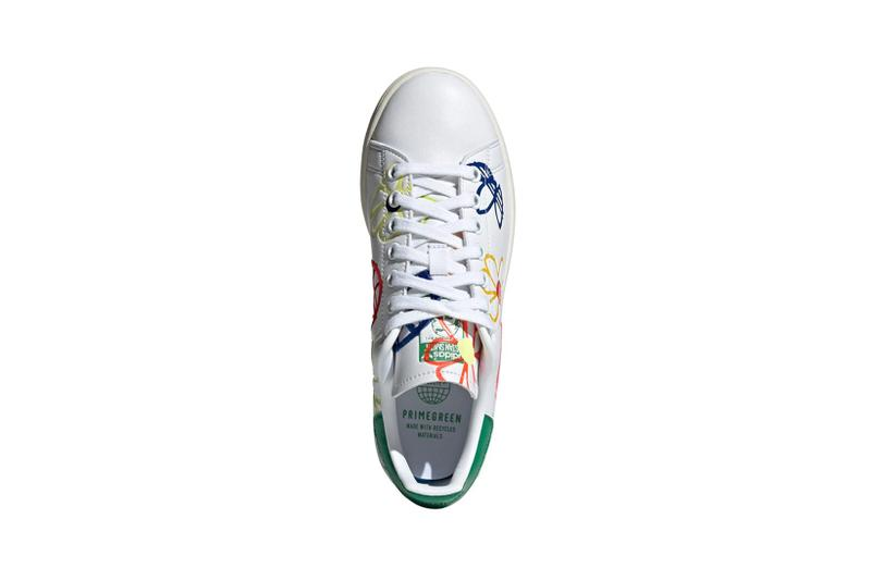 adidas originals stan smith primegreen sustainable sneakers white colorway footwear shoes sneakerhead pink yellow flower aerial birds eye view insole laces
