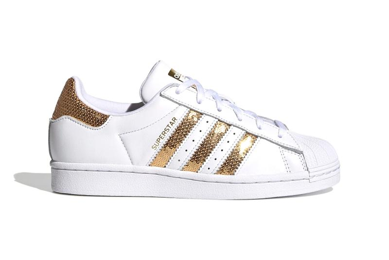 adidas originals superstar womens sneakers metallic gold sequins white colorway sneakerhead footwear shoes lateral