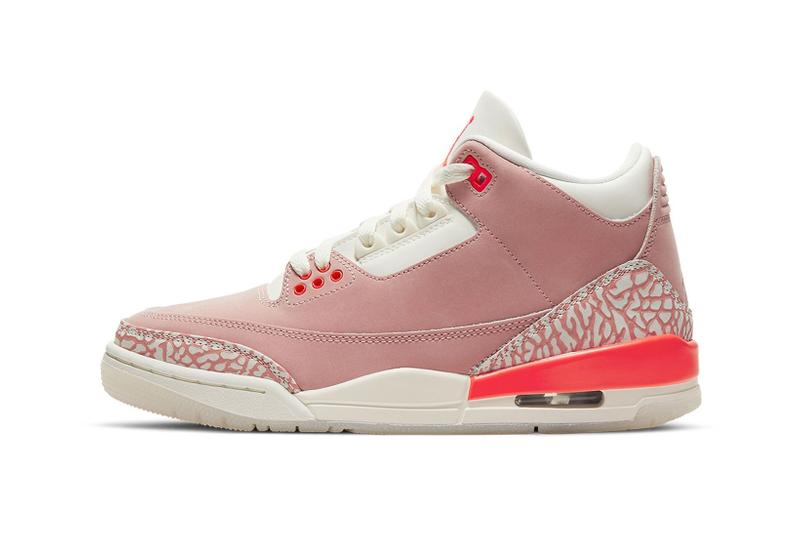nike air jordan 3 aj3 rust pink womens sneakers laterals side elephant print neon sail white