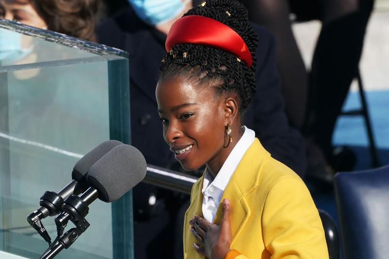 amanda gorman president inauguration youth poet laureate youngest 22 year old outfit red hairband yellow coat prada