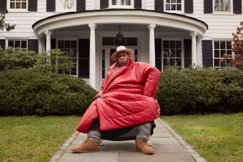andre leon talley vogue fashion news director ugg spring summer feel campaign neumel chukka red coat jacket outerwear hat house gray socks