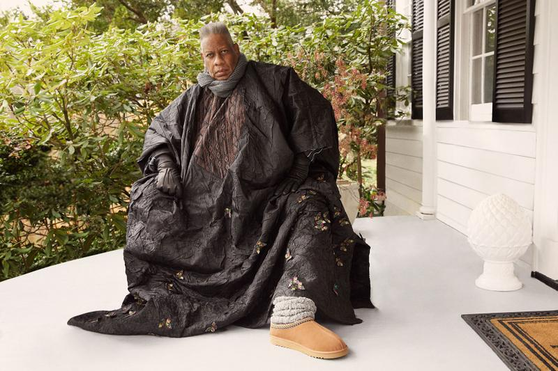 andre leon talley vogue fashion news director ugg spring summer feel campaign tasman slipper black gloves dress gray scarf plants house shoes footwear beige brown