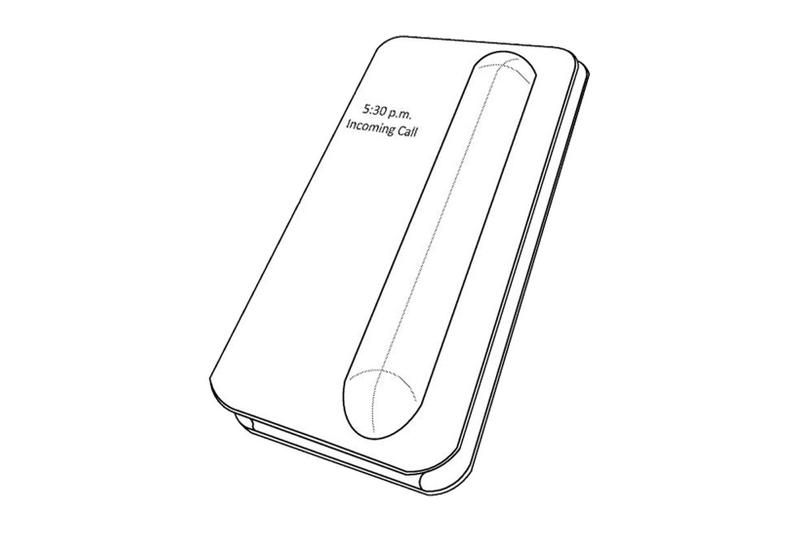apple iphone case airpods charging built-in integrated design mock-up illustration drawing folding style closed external display