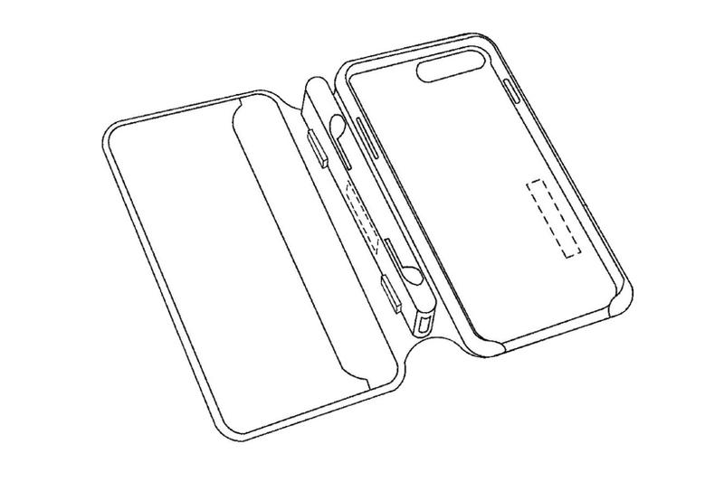 apple iphone case airpods charging built-in integrated design mock-up illustration drawing folding style slots inner structure