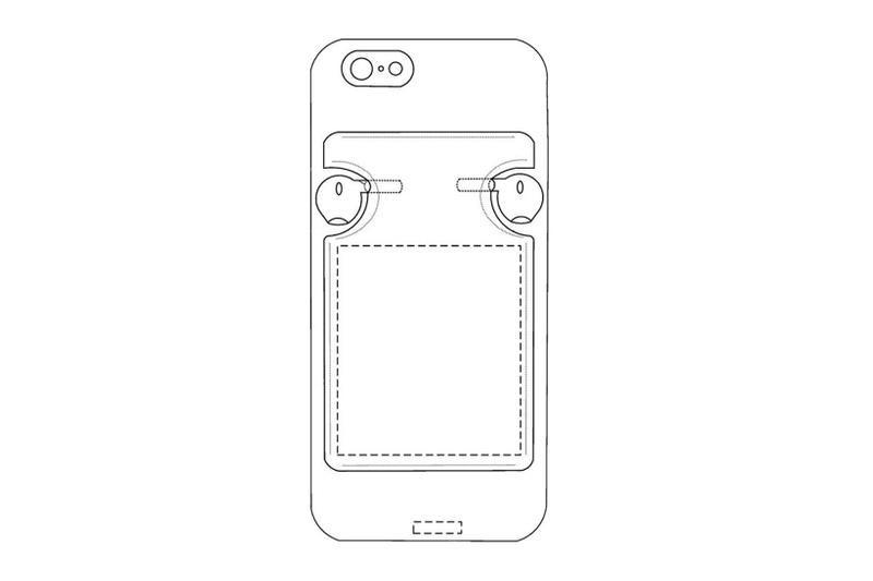 apple iphone case airpods charging built-in integrated design mock-up illustration drawing wallet card slots