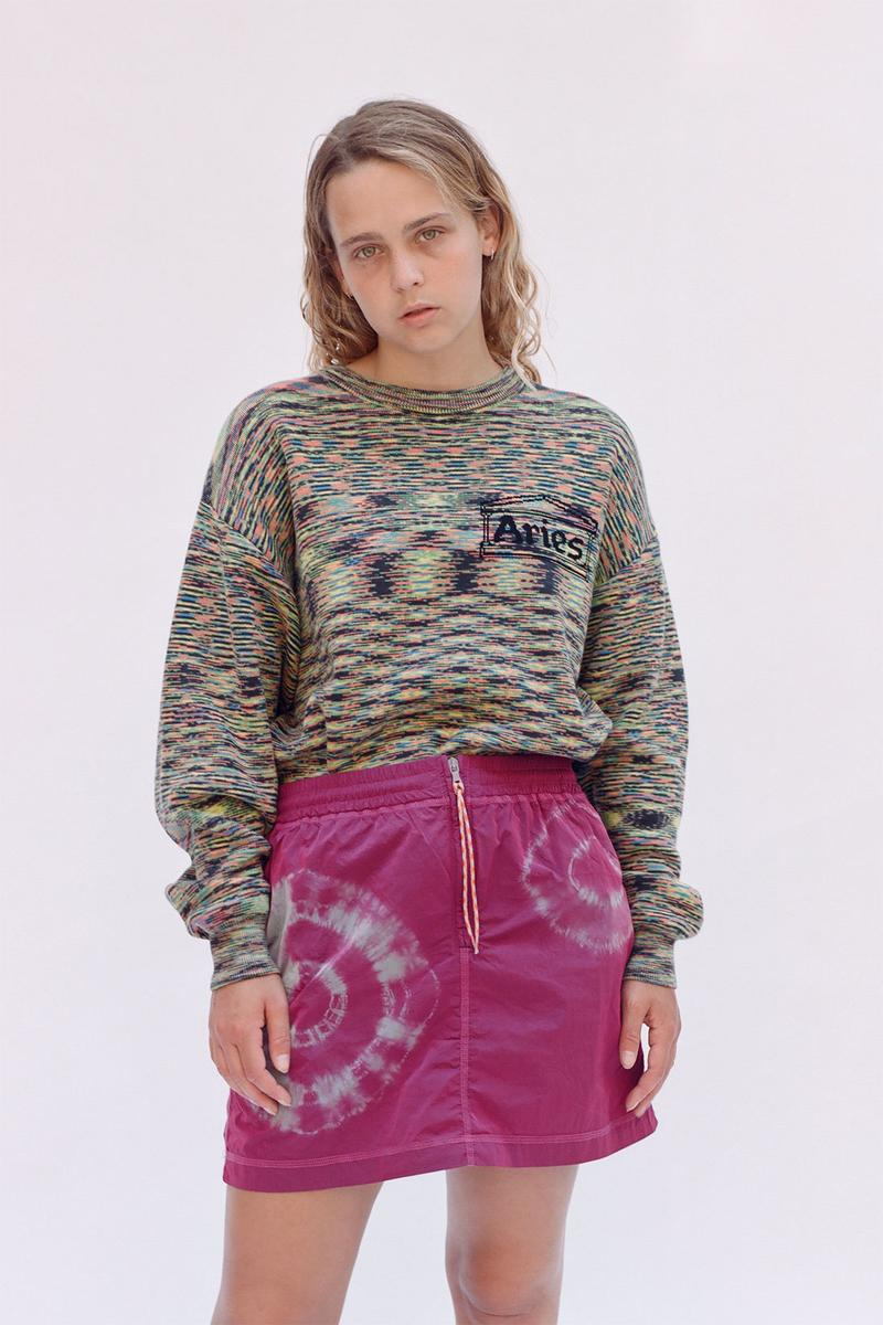 aries spring summer ss21 collection lookbook pattern knit sweater purple pink skirt