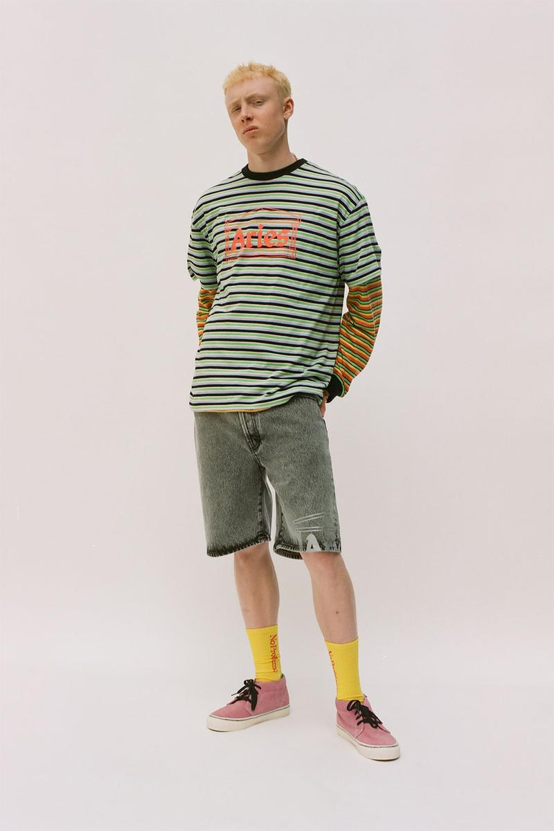 aries spring summer ss21 collection lookbook t-shirt shorts denim
