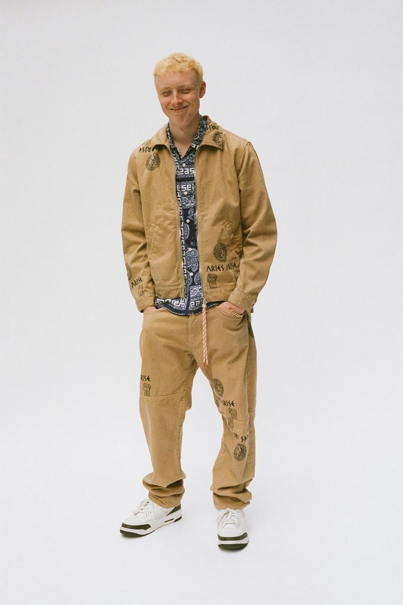 aries spring summer ss21 collection lookbook matching jacket pants beige