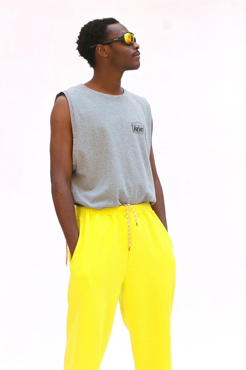 aries spring summer ss21 collection lookbook gray top yellow sweatpants