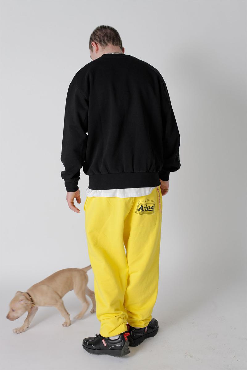 aries spring summer ss21 collection lookbook black sweatshirt yellow sweatpants dog puppy