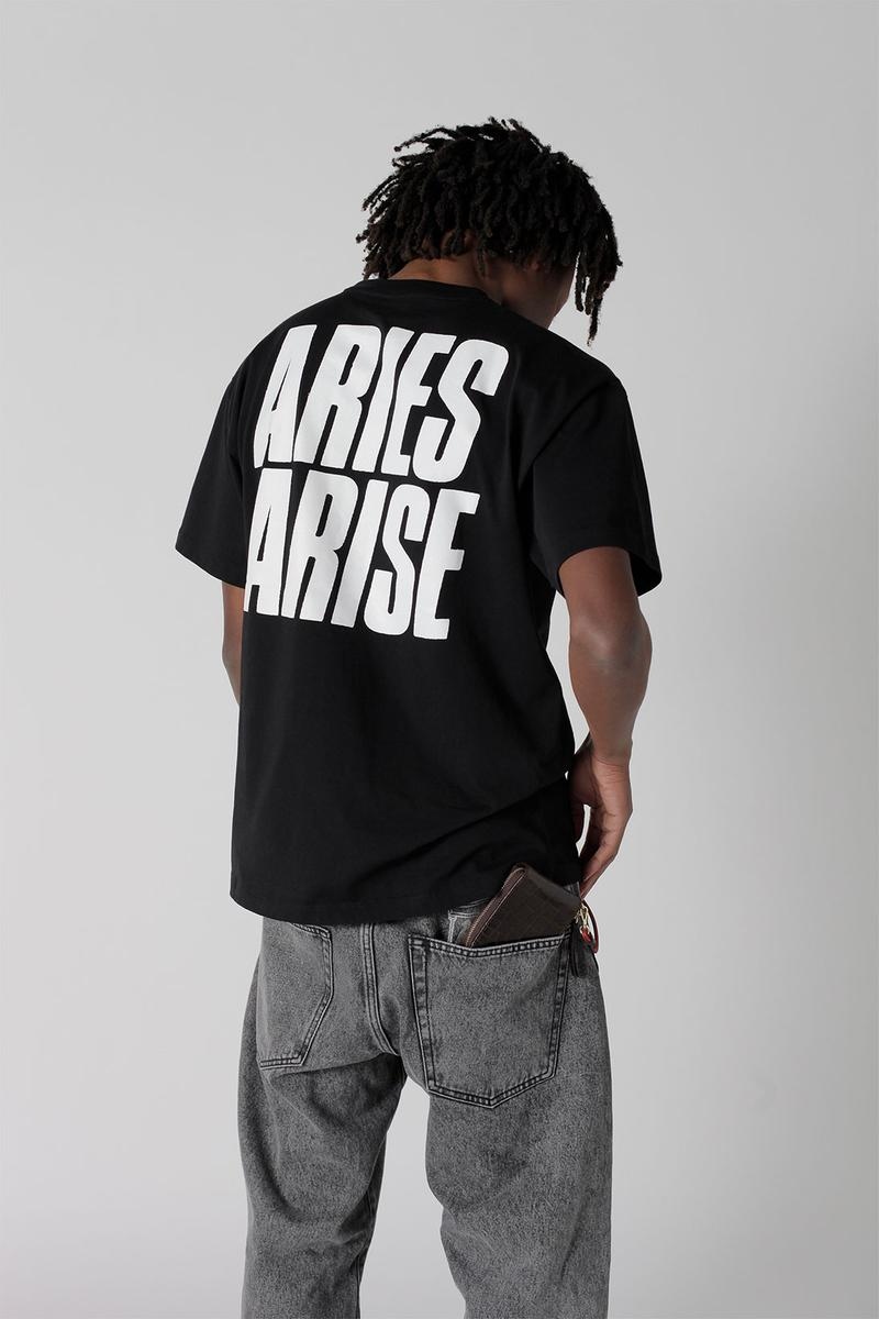 aries spring summer ss21 collection lookbook black logo t-shirt