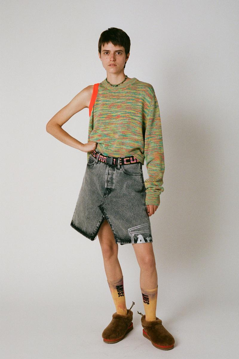 aries spring summer ss21 collection lookbook asymmetrical knit sweater denim skirt
