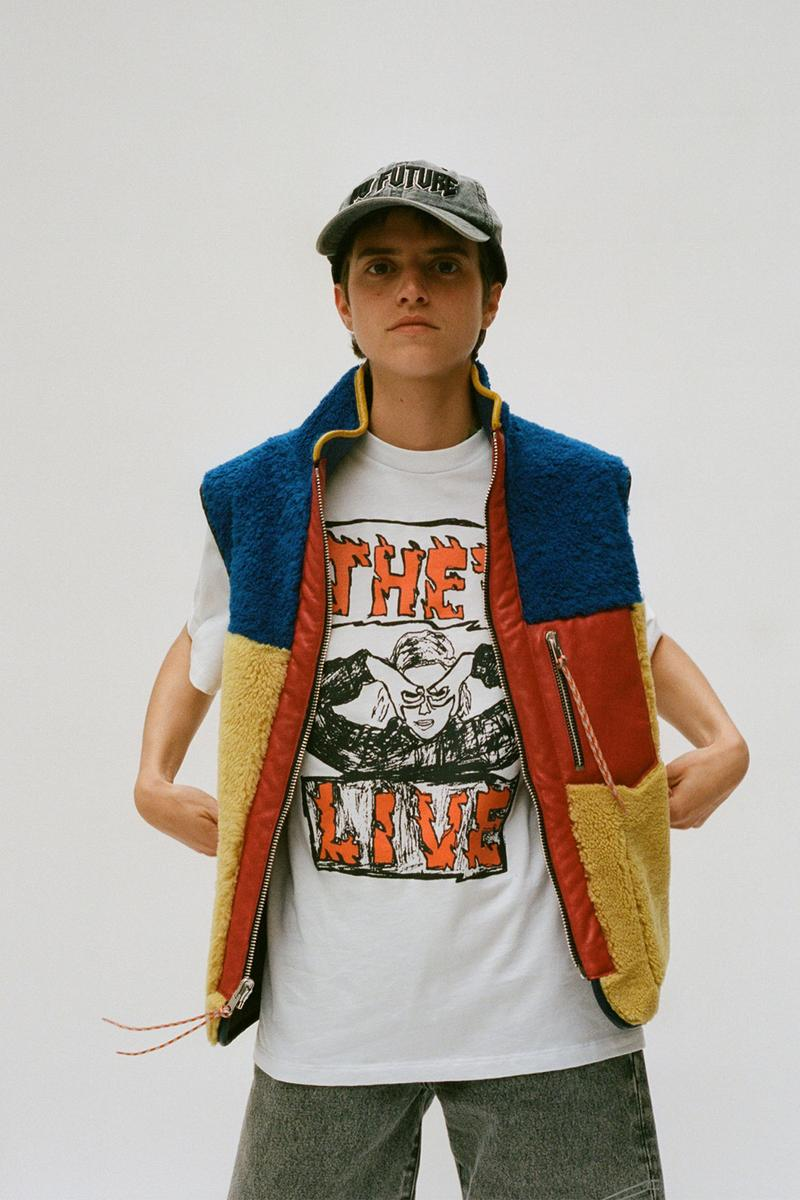 aries spring summer ss21 collection lookbook fleece colorblocking vest white graphic t-shirt