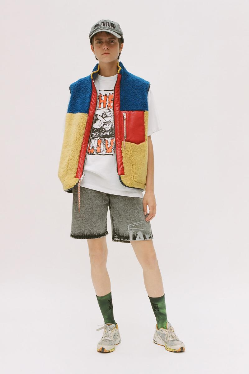 aries spring summer ss21 collection lookbook white graphic t-shirt denim shorts fleece vest
