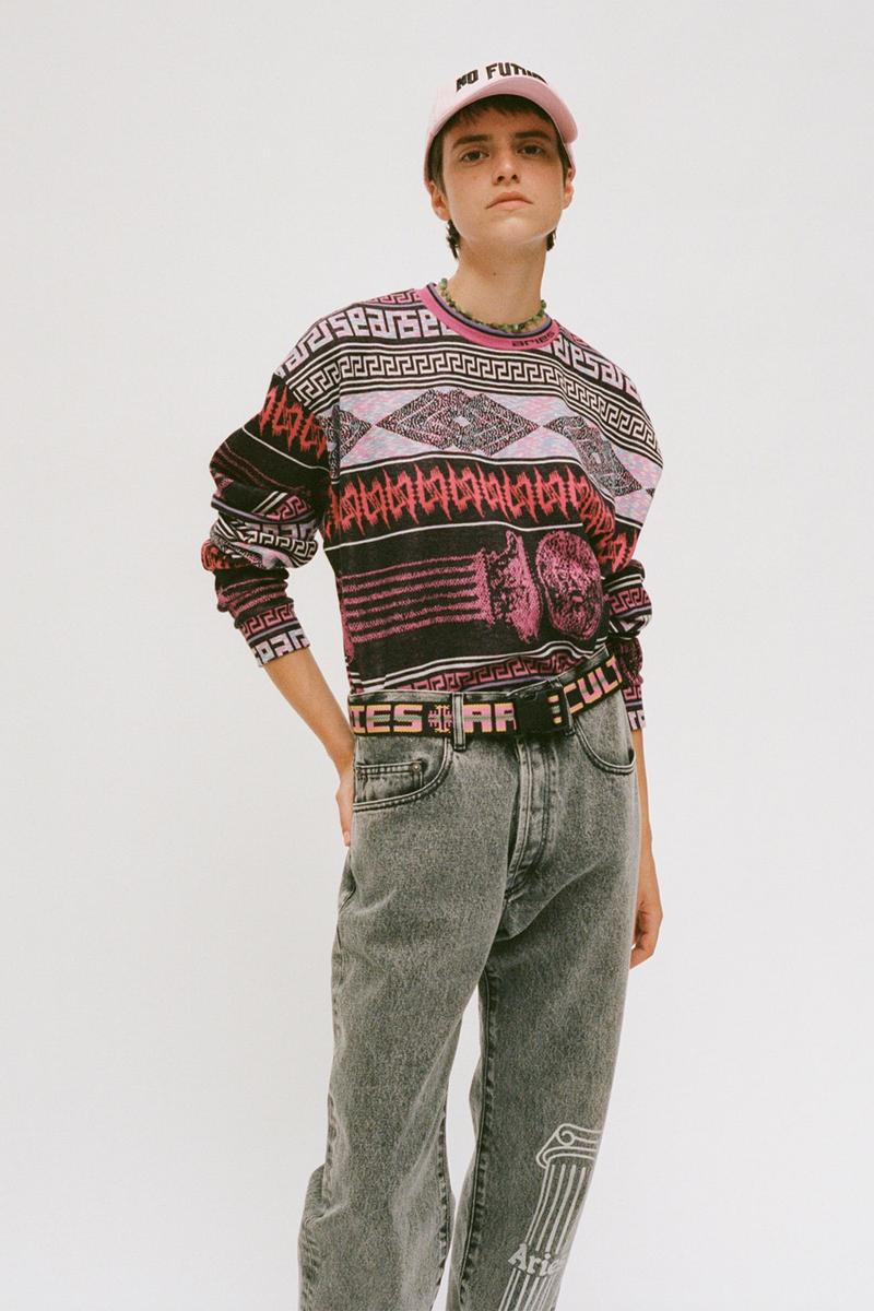aries spring summer ss21 collection lookbook pattern knit sweater jeans