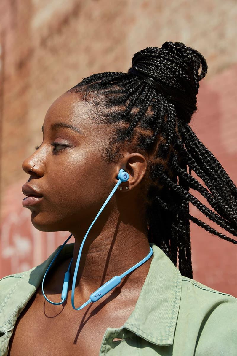beats flex new colors flame blue wireless earphones headphones listening music brick wall