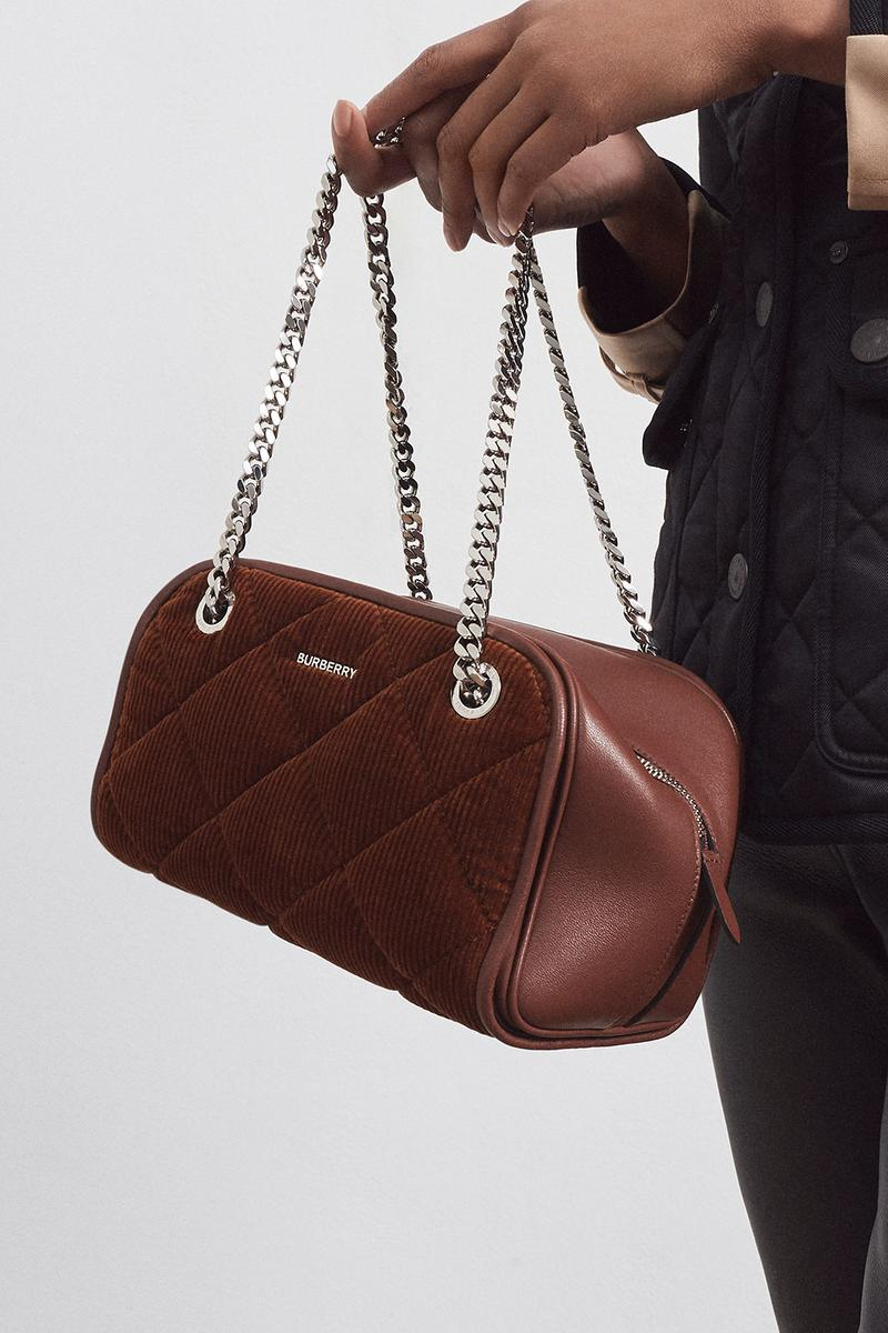 burberrys future archive capsule limited edition collection campaign cube bag corduroy brown