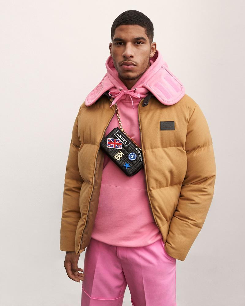 burberry fall winter fw21 pre-collection riccardo tisci brown puffer jacket pink hoodie bag