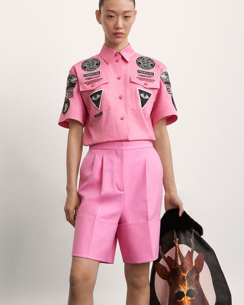 burberry fall winter fw21 pre-collection riccardo tisci shorts shirts set pink jacket