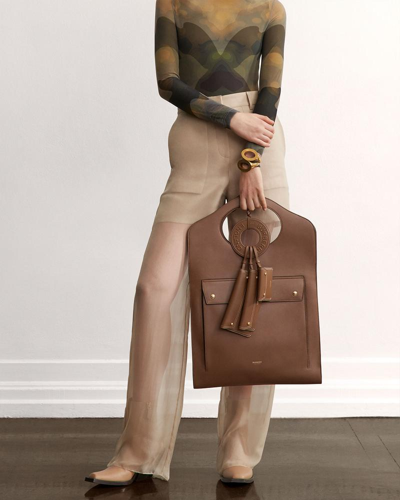 burberry fall winter fw21 pre-collection riccardo tisci canvas bag leather beige sheer trousers top