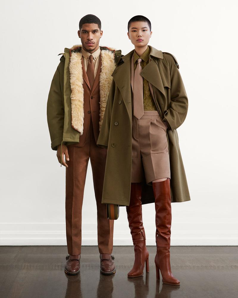 burberry fall winter fw21 pre-collection riccardo tisci khaki trench coat leather boots